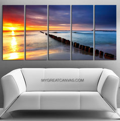 LARGE WALL ART - Sunset and Sea Landscape Canvas Art Prints For Wall - Large Canvas Print-Extra Large Wall Art Canvas Print