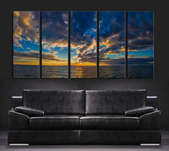 LARGE Wall ART - Sunset on Sea Framed Large Size Canvas Print for Home Decoration, Great Gift, Sea Wall Decor-Extra Large Wall Art Canvas Print
