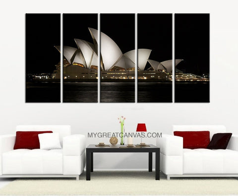 Large Wall Art Sydney Opera House 5 Panel Canvas Print | Australia Canvas Print | Sydney Canvas Print | Sydney Opera Canvas-Wall Art Canvas-Extra Large Wall Art Canvas Print-Extra Large Wall Art Canvas Print