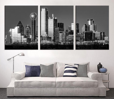 Large Wall Art - Texas Dallas Skyline Black & White Night Cityscape, Dallas Large Art Canvas Print, Texas Dallas City Art Canvas Print - MC157-Wall Art Canvas-Extra Large Wall Art Canvas Print-Extra Large Wall Art Canvas Print