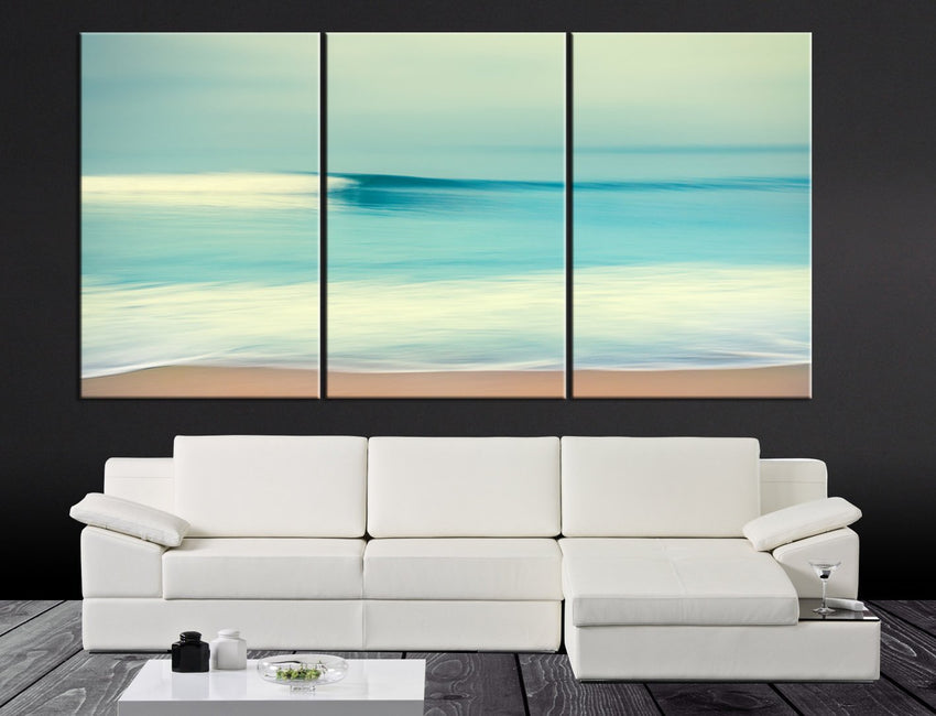 Large Wall Art Turquoise Sea and Beach Canvas Print - Contemporary 3 Panel Triptych Seascape Canvas Art Large Wall Art - MC102-Extra Large Wall Art Canvas Print