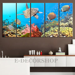 Large Wall Art Underwater Canvas Print 5 Panel + Large Wall Art Size + Fish and Turtle Canvas Wall Art + The Coral Sea Canvas-Extra Large Wall Art Canvas Print