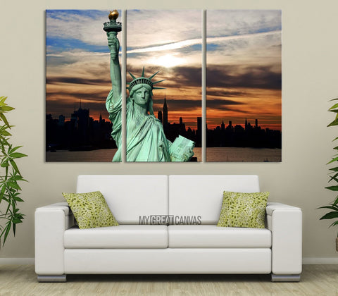 Large Wall Art USA Statue of Liberty Wall Art Canvas Print - 3 Panel Wall Art New York City Landscape - NW010-Wall Art Canvas-Extra Large Wall Art Canvas Print-Extra Large Wall Art Canvas Print