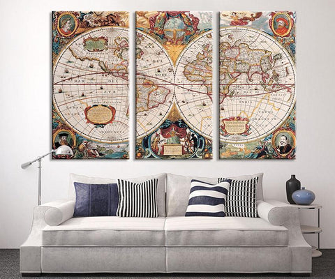 Large Wall Art - Vintage Antique World Map Art Canvas Print, Large World Map Wall Art, Antique Old World Map Canvas Print,-Wall Art Canvas-Extra Large Wall Art Canvas Print-Extra Large Wall Art Canvas Print