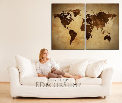Large Wall Art Vintage World Map Canvas Print | 2 Panel Canvas Art Print | Diptych Painting Retro World Map Canvas-Wall Art Canvas-Extra Large Wall Art Canvas Print-Extra Large Wall Art Canvas Print