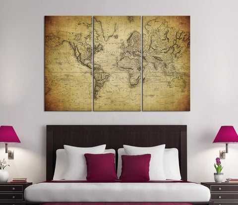 Large Wall Art Vintage World Map Canvas Print Set - For Home and Office Design, Large Wall Art World Map - Extra Large Map on Canvas Art-Wall Art Canvas-Extra Large Wall Art Canvas Print-Extra Large Wall Art Canvas Print