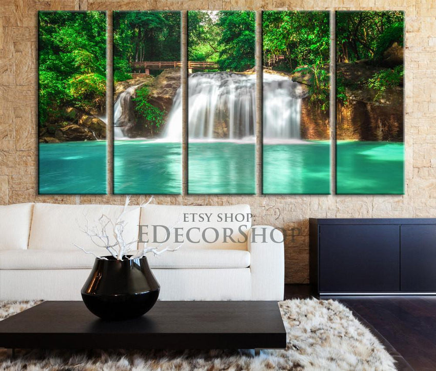 Large Wall Art Waterfall in Green Forest Canvas Print - Great Landscape and Lake and Waterfall Canvas Art Print-Wall Art Canvas-Extra Large Wall Art Canvas Print-Extra Large Wall Art Canvas Print