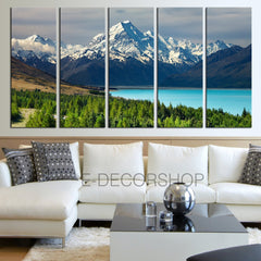 Large Wall Art Wonderful Snowy Mountains and Bright Lake in Forest Landscape Canvas Print Framed 5 Panel Canvas - MC192-Wall Art Canvas-Extra Large Wall Art Canvas Print-Extra Large Wall Art Canvas Print