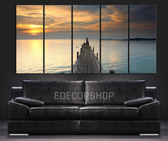 Large Wall Art Wood Pier at Sunset Canvas Print - Wall Canvas Art Print Ocean View 5 Piece Canvas Panel - Wall Art XXL Canvas - MC28-Extra Large Wall Art Canvas Print