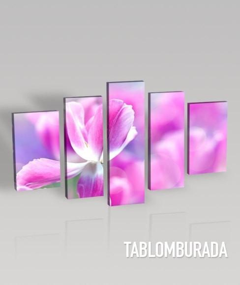 Large Wall CANVAS ART - Pink Tulips Canvas Print + 5 Panel + Ready to Hang-Wall Art Canvas-Extra Large Wall Art Canvas Print-Extra Large Wall Art Canvas Print