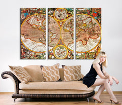 Large World Map Art - Vintage Antique World Map Art Canvas Print, Large World Map Wall Art, Antique Old World Map Canvas Print,-Wall Art Canvas-Extra Large Wall Art Canvas Print-Extra Large Wall Art Canvas Print