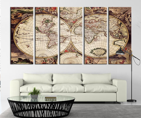 Magnetic Curves World Map Canvas Art Print, Ancient World Map Home Decor No:103-Wall Art Canvas-Extra Large Wall Art Canvas Print-Extra Large Wall Art Canvas Print
