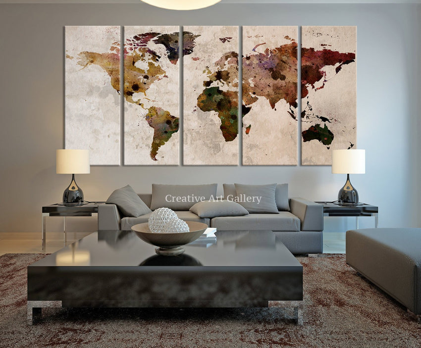 Map Art - Large Canvas Print Rustic World Map, Large Wall Art, Extra Large Vintage World Map Print for Home and Office Wall Decoration - MC148-Wall Art Canvas-Extra Large Wall Art Canvas Print-Extra Large Wall Art Canvas Print