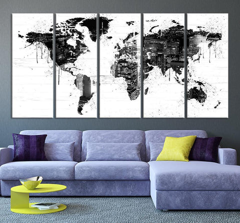 Map Art - New York City in World Map Wall Art, Grayscale World Map with New York City, World Map Print, World Map Print on Canvas - MC104-Wall Art Canvas-Extra Large Wall Art Canvas Print-Extra Large Wall Art Canvas Print