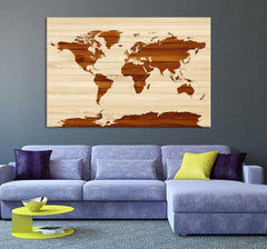 Map Art - Rustic World Map on Wood Texture Canvas Print - Wooden World Map Wall Art Canvas Print - Framed - Ready to Hang - Office Wall Art-Wall Art Canvas-Extra Large Wall Art Canvas Print-Extra Large Wall Art Canvas Print
