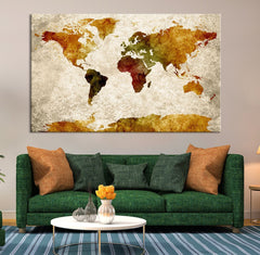 Map Art - Watercolor Gold World Map Canvas Print , Grunge Sephia World Map Urban, Watercolor Red World Map Print, Grunge World Map-Wall Art Canvas-Extra Large Wall Art Canvas Print-Extra Large Wall Art Canvas Print