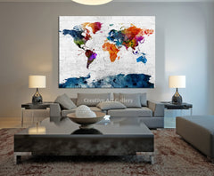 Map Art - Watercolor MixColor World Map Canvas Print , Navy Blue World Map Urban, Watercolor Green World Map Print, Grunge World Map-Wall Art Canvas-Extra Large Wall Art Canvas Print-Extra Large Wall Art Canvas Print