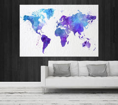 Map Art - Watercolor World Map Canvas Print , Large Light Blue World Map Urban, Watercolor Purple World Map Print, Grunge World Map-Wall Art Canvas-Extra Large Wall Art Canvas Print-Extra Large Wall Art Canvas Print