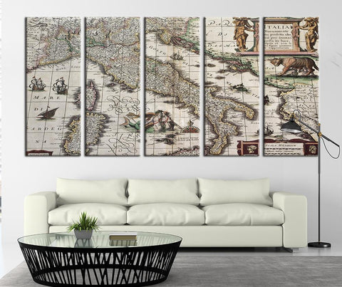 Map of the Ancient Italy Canvas Art Print, Scala Miliarium, Italia - MC225-Wall Art Canvas-Extra Large Wall Art Canvas Print-Extra Large Wall Art Canvas Print