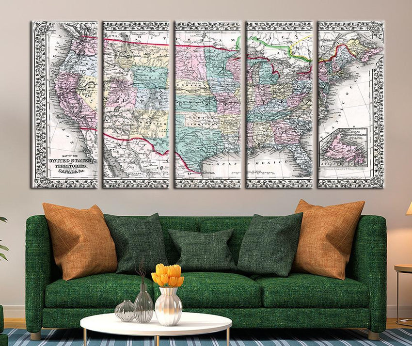 Map of the United States of America Canvas Art Print, United States Territories No:102-Wall Art Canvas-Extra Large Wall Art Canvas Print-Extra Large Wall Art Canvas Print