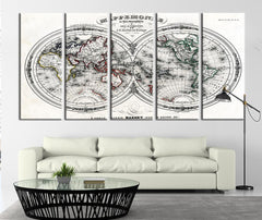 Map of the World Ancient Canvas Art Print, Mappemonde, No:100-Wall Art Canvas-Extra Large Wall Art Canvas Print-Extra Large Wall Art Canvas Print