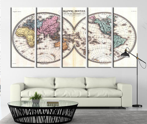 Mappemonde, World Map Ancient Canvas Art Print No:101-Wall Art Canvas-Extra Large Wall Art Canvas Print-Extra Large Wall Art Canvas Print