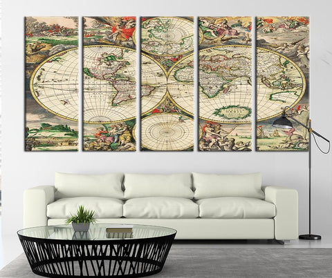 Medieval World Map Canvas Art Print, Historical Map of the World No:086-Wall Art Canvas-Extra Large Wall Art Canvas Print-Extra Large Wall Art Canvas Print