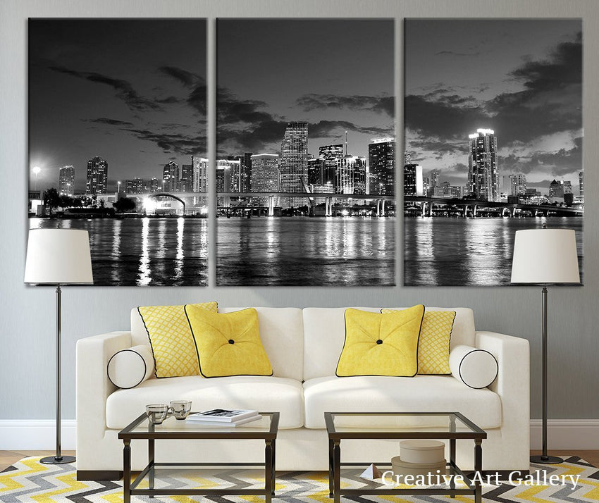 Miami City Night Large Wall Art Canvas Print, Extra Large Miami Skyline Wall Art Print-Wall Art Canvas-Extra Large Wall Art Canvas Print-Extra Large Wall Art Canvas Print