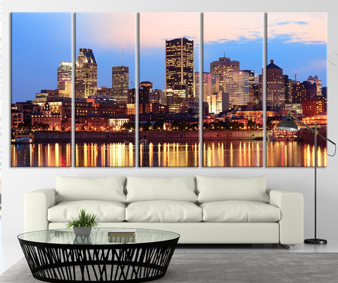 Montreal over River at Sunset with City Lights and Urban Buildings Wall Art Print - Montreal Night Large Canvas Print-Wall Art Canvas-Extra Large Wall Art Canvas Print-Extra Large Wall Art Canvas Print
