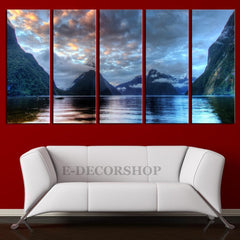 Mountain Lake Milford Sound in New Zealand Canvas Print Framed 5 Panel Canvas - New Zealand Landscape Art Canvas Print-Wall Art Canvas-Extra Large Wall Art Canvas Print-Extra Large Wall Art Canvas Print