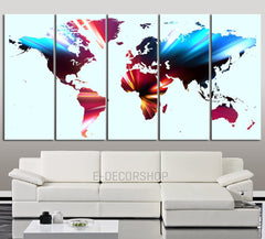 Multipanel WORLD MAP Canvas Art Print - World Map 5 Piece Canvas Art Print - Ready to Hang - Colorful World Map-Wall Art Canvas-Extra Large Wall Art Canvas Print-Extra Large Wall Art Canvas Print