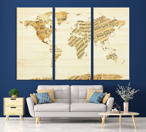 N14452 - Modern Large Musical Note Wall Art World Map Map Canvas Print for Living Room Decor Art- Ready to Hang-Giclee Floral Canvas Print-World Map Wall Art-3 Panel-Per P. 16x32 Inches-Extra Large Wall Art Canvas Print