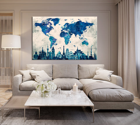 N14456 - Modern Large Blue Wall Art World Map Map Canvas Print for Living Room Decor Art- Ready to Hang-Giclee Floral Canvas Print-World Map Wall Art-Single Panel-24X16-Extra Large Wall Art Canvas Print