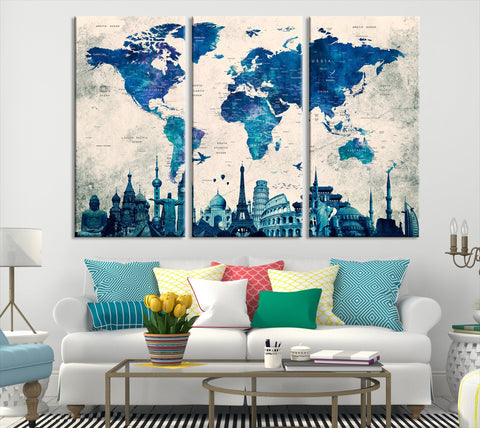 N14456 - Modern Large Blue Wall Art World Map Map Canvas Print for Living Room Decor Art- Ready to Hang-Giclee Floral Canvas Print-World Map Wall Art-3 Panel-Per P. 16x32 Inches-Extra Large Wall Art Canvas Print