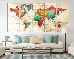N14457 - Modern Large Colorful Wall Art World Map Map Push Pin Canvas Print - Ready to Hang-Giclee Canvas Print-World Map Wall Art-5 Panel-Per P. 12x32-Extra Large Wall Art Canvas Print