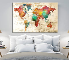 N14457 - Modern Large Colorful Wall Art World Map Map Push Pin Canvas Print - Ready to Hang-Giclee Canvas Print-World Map Wall Art-Single Panel-24x16-Extra Large Wall Art Canvas Print