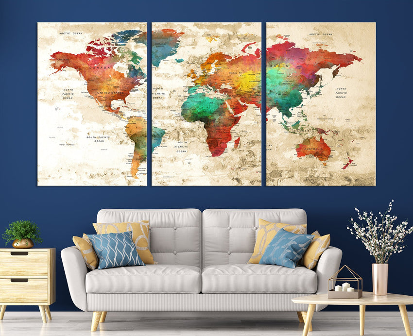N14457 - Modern Large Colorful Wall Art World Map Map Push Pin Canvas Print - Ready to Hang-Giclee Canvas Print-World Map Wall Art-3 Panel-Per P. 16x24-Extra Large Wall Art Canvas Print