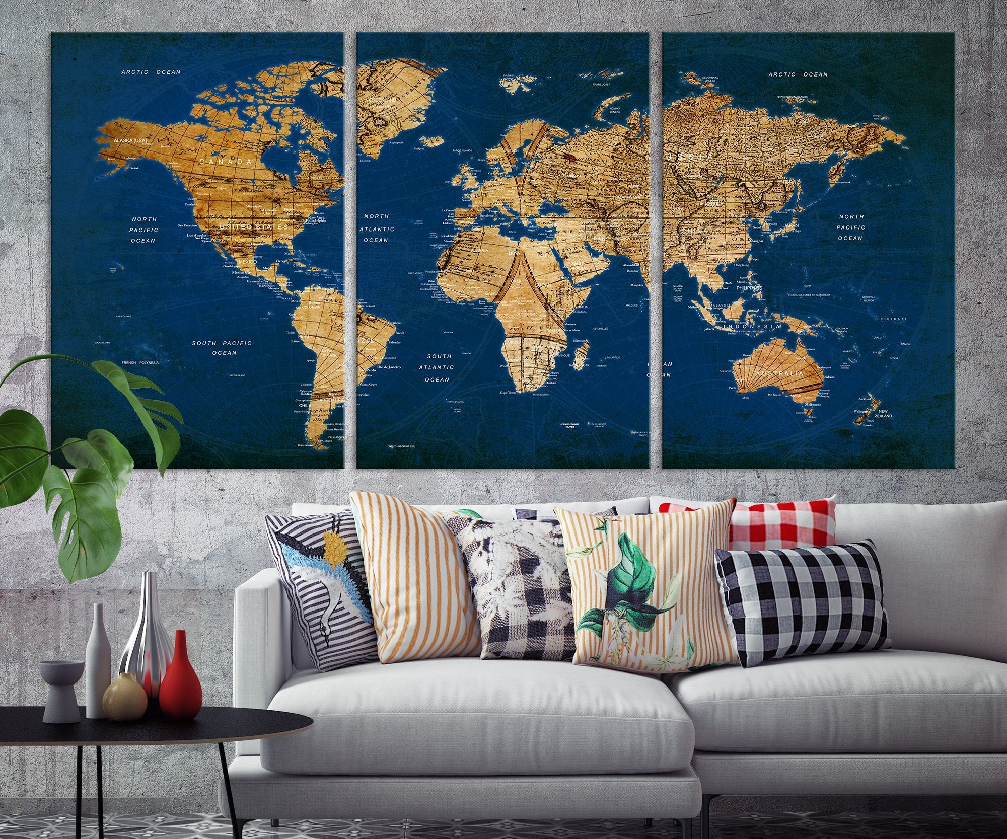 N14458 Modern Large Gold And Navy Blue Wall Art World Map Map Push Extra Large Wall Art Canvas Print,Simple South Indian Baby Shower Decorations