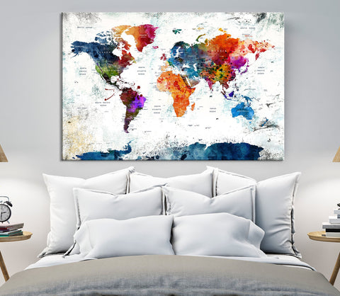 N14461 - Modern Large Colorful Wall Art World Map Map Canvas Print for Living Room Decor Art- Ready to Hang-Giclee Floral Canvas Print-World Map Wall Art-Single Panel-24X16-Extra Large Wall Art Canvas Print