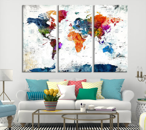 N14461 - Modern Large Colorful Wall Art World Map Map Canvas Print for Living Room Decor Art- Ready to Hang-Giclee Floral Canvas Print-World Map Wall Art-3 Panel-Per P. 16x32 Inches-Extra Large Wall Art Canvas Print