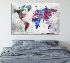 N14465 - Modern Large Colorful Wall Art World Map Map Push Pin Canvas Print - Ready to Hang-Giclee Canvas Print-World Map Wall Art-Single Panel-24x16-Extra Large Wall Art Canvas Print