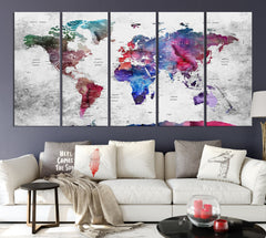 N14465 - Modern Large Colorful Wall Art World Map Map Push Pin Canvas Print - Ready to Hang-Giclee Canvas Print-World Map Wall Art-5 Panel-Per P. 12x32-Extra Large Wall Art Canvas Print