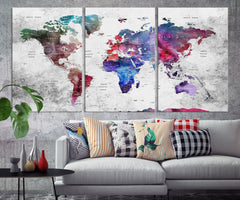 N14465 - Modern Large Colorful Wall Art World Map Map Push Pin Canvas Print - Ready to Hang-Giclee Canvas Print-World Map Wall Art-Extra Large Wall Art Canvas Print