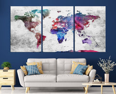 N14465 - Modern Large Colorful Wall Art World Map Map Push Pin Canvas Print - Ready to Hang-Giclee Canvas Print-World Map Wall Art-3 Panel-Per P. 16x24-Extra Large Wall Art Canvas Print