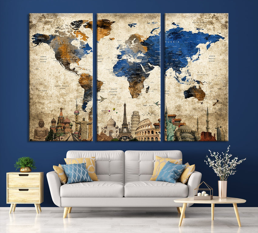N14467 - Modern Large Gold Wall Art World Map Map Push Pin Canvas Print - Ready to Hang-Giclee Canvas Print-World Map Wall Art-3 Panel-Per P. 16x24-Extra Large Wall Art Canvas Print