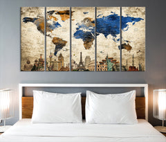 N14467 - Modern Large Gold Wall Art World Map Map Push Pin Canvas Print - Ready to Hang-Giclee Canvas Print-World Map Wall Art-5 Panel-Per P. 12x32-Extra Large Wall Art Canvas Print