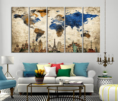 N14467 - Modern Large Gold Wall Art World Map Map Push Pin Canvas Print - Ready to Hang-Giclee Canvas Print-World Map Wall Art-Extra Large Wall Art Canvas Print
