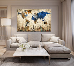 N14467 - Modern Large Gold Wall Art World Map Map Push Pin Canvas Print - Ready to Hang-Giclee Canvas Print-World Map Wall Art-Single Panel-24x16-Extra Large Wall Art Canvas Print