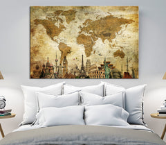 N14468 - Vintage Wall Art World Map Map Push Pin Canvas Print - Ready to Hang-Giclee Canvas Print-World Map Wall Art-Extra Large Wall Art Canvas Print