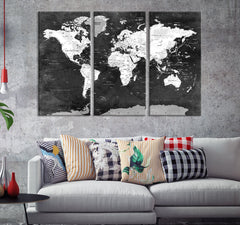 N14469 - Large Black and White Wall Art World Map Map Push Pin Canvas Print - Ready to Hang-Giclee Canvas Print-World Map Wall Art-Extra Large Wall Art Canvas Print